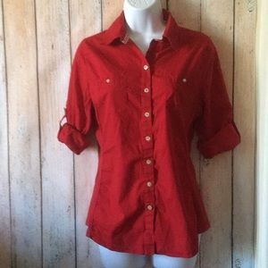 Converse Red Folded Sleeves Shirt